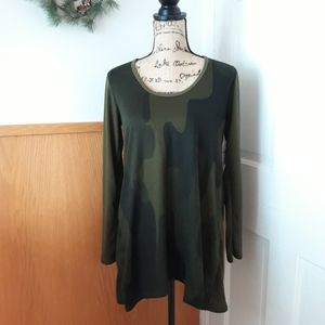 Go Couture Olive Green Camo Long Sleeve Top
